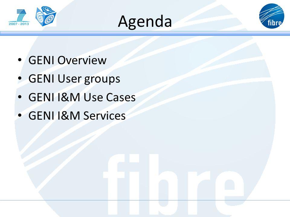 Agenda GENI Overview GENI User groups GENI I&M Use Cases GENI I&M Services