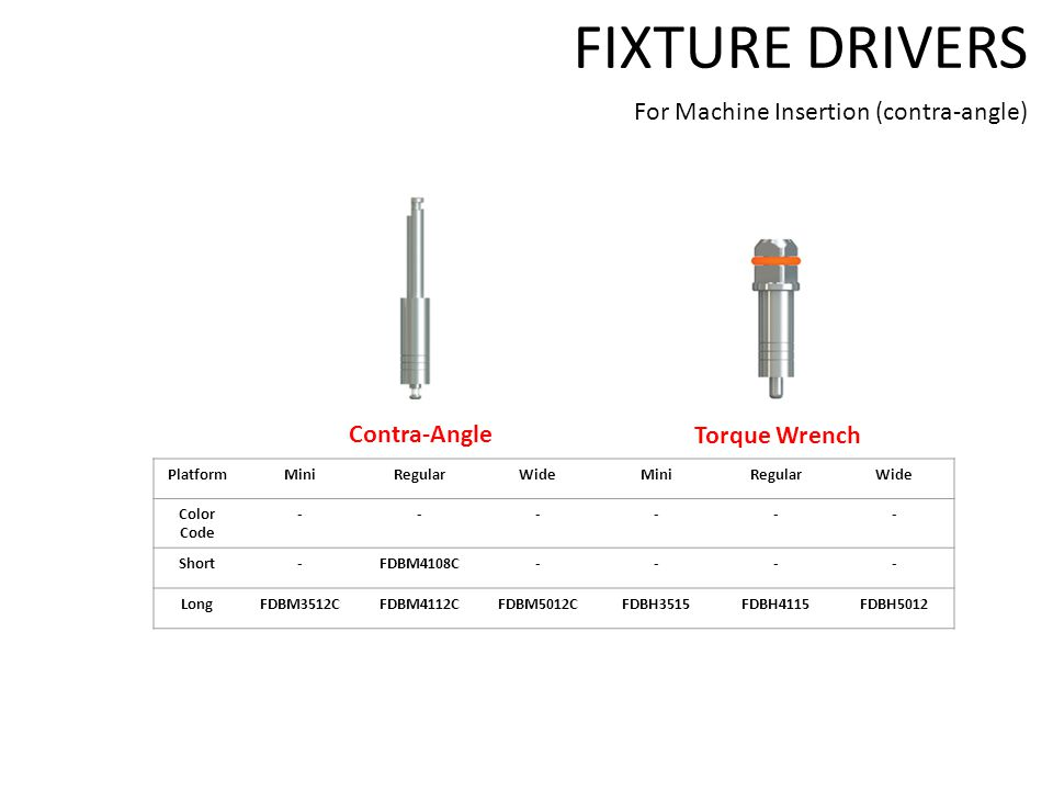 FIXTURE DRIVERS For Machine Insertion (contra-angle) PlatformMiniRegularWideMiniRegularWide Color Code ------ Short-FDBM4108C---- LongFDBM3512CFDBM4112CFDBM5012CFDBH3515FDBH4115FDBH5012 Contra-Angle Torque Wrench