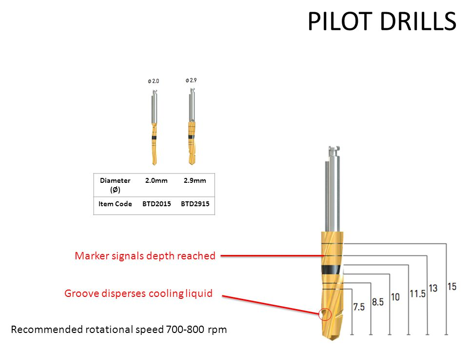 PILOT DRILLS Recommended rotational speed 700-800 rpm Marker signals depth reached Groove disperses cooling liquid Diameter (Ø) 2.0mm2.9mm Item CodeBTD2015BTD2915