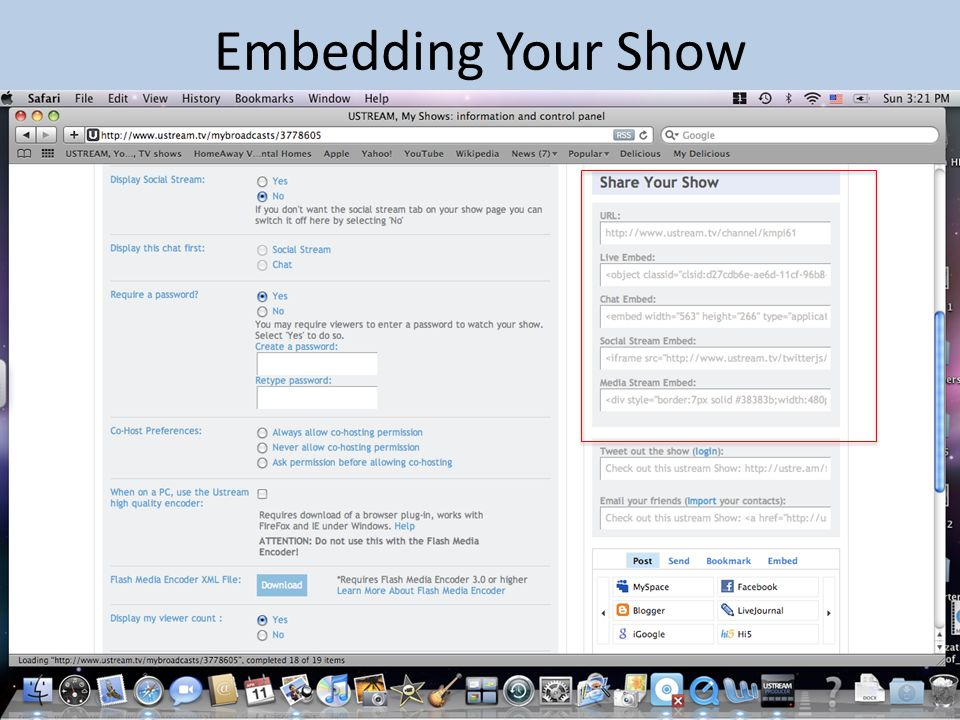 Embedding Your Show