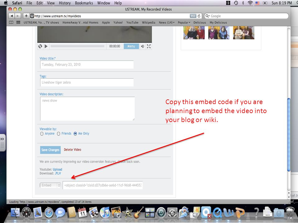Copy this embed code if you are planning to embed the video into your blog or wiki.