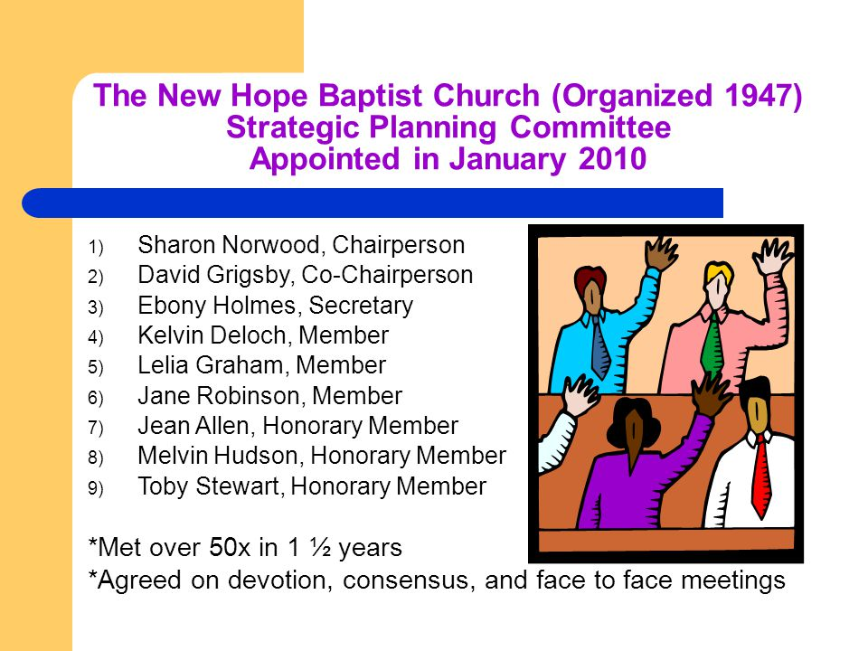 The New Hope Baptist Church (Organized 1947) Strategic Planning Committee Appointed in January 2010 1) Sharon Norwood, Chairperson 2) David Grigsby, Co-Chairperson 3) Ebony Holmes, Secretary 4) Kelvin Deloch, Member 5) Lelia Graham, Member 6) Jane Robinson, Member 7) Jean Allen, Honorary Member 8) Melvin Hudson, Honorary Member 9) Toby Stewart, Honorary Member *Met over 50x in 1 ½ years *Agreed on devotion, consensus, and face to face meetings