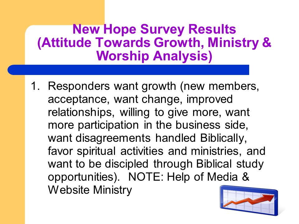 New Hope Survey Results (Attitude Towards Growth, Ministry & Worship Analysis) 1.Responders want growth (new members, acceptance, want change, improved relationships, willing to give more, want more participation in the business side, want disagreements handled Biblically, favor spiritual activities and ministries, and want to be discipled through Biblical study opportunities).