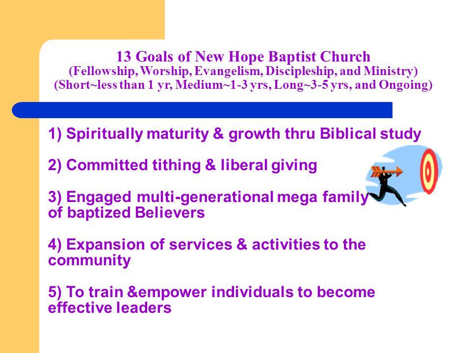13 Goals of New Hope Baptist Church (Fellowship, Worship, Evangelism, Discipleship, and Ministry) (Short~less than 1 yr, Medium~1-3 yrs, Long~3-5 yrs,