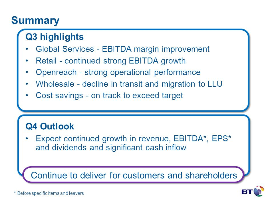Summary Q3 highlights Global Services - EBITDA margin improvement Retail - continued strong EBITDA growth Openreach - strong operational performance W