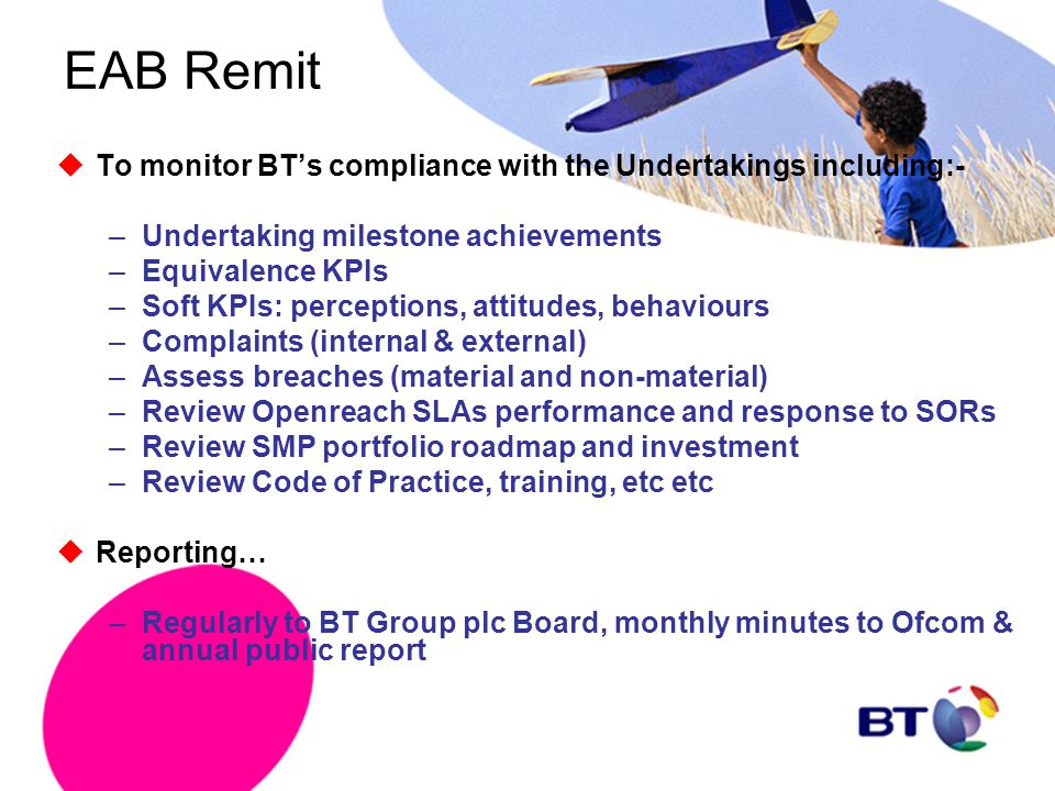 EAB Remit  To monitor BT's compliance with the Undertakings including:- –Undertaking milestone achievements –Equivalence KPIs –Soft KPIs: perceptions
