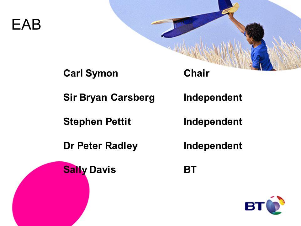 EAB Carl Symon Chair Sir Bryan CarsbergIndependent Stephen Pettit Independent Dr Peter Radley Independent Sally DavisBT