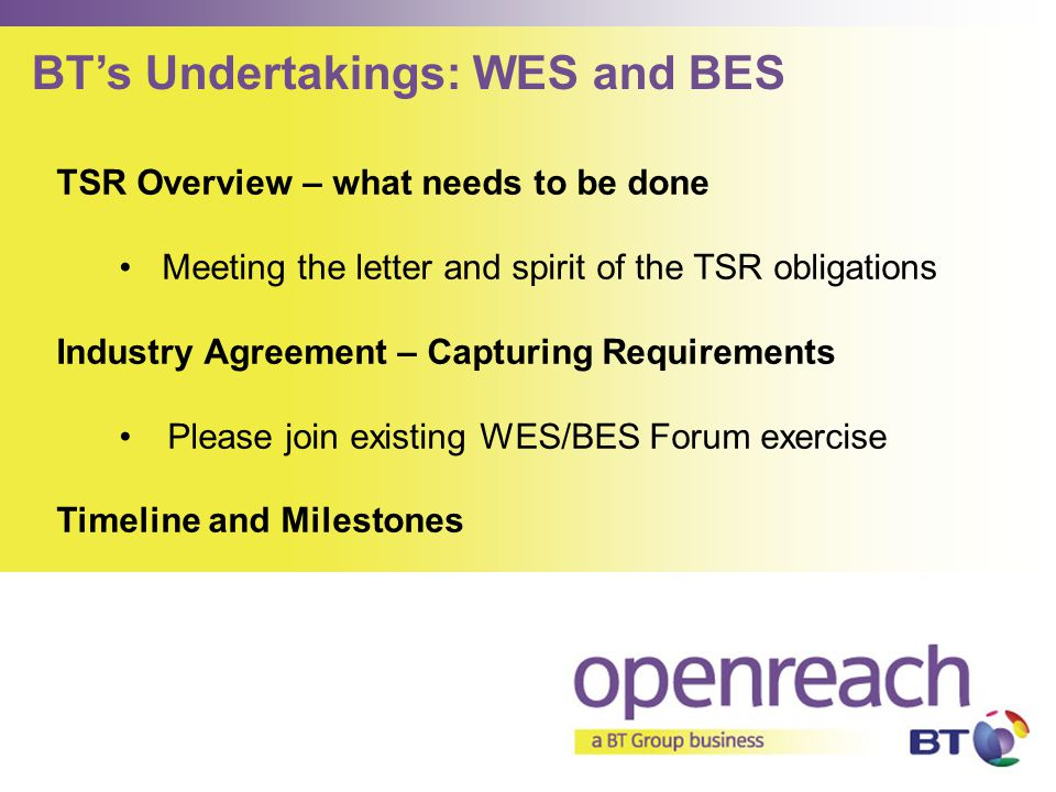 TSR Overview – what needs to be done Meeting the letter and spirit of the TSR obligations Industry Agreement – Capturing Requirements Please join exis