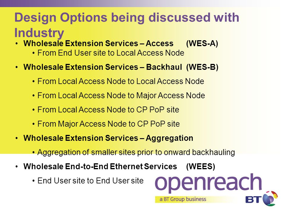 Design Options being discussed with Industry Wholesale Extension Services – Access(WES-A) From End User site to Local Access Node Wholesale Extension