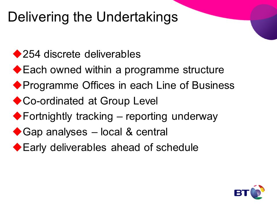 Delivering the Undertakings  254 discrete deliverables  Each owned within a programme structure  Programme Offices in each Line of Business  Co-or