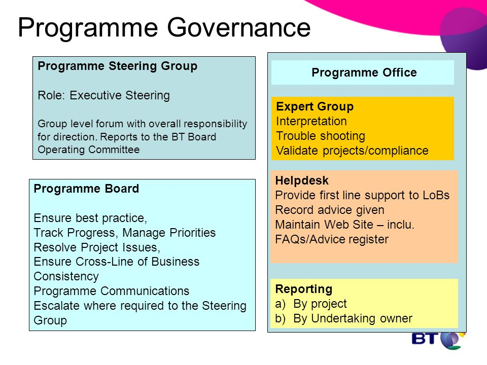 Programme Governance Programme Steering Group Role: Executive Steering Group level forum with overall responsibility for direction. Reports to the BT