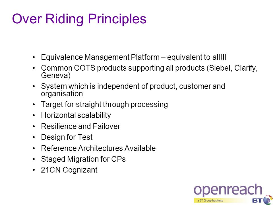 Over Riding Principles Equivalence Management Platform – equivalent to all!!! Common COTS products supporting all products (Siebel, Clarify, Geneva) S