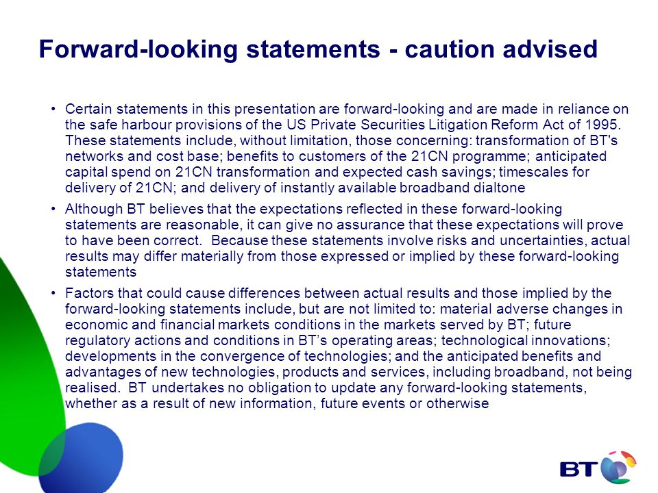 Forward-looking statements - caution advised Certain statements in this presentation are forward-looking and are made in reliance on the safe harbour provisions of the US Private Securities Litigation Reform Act of 1995.