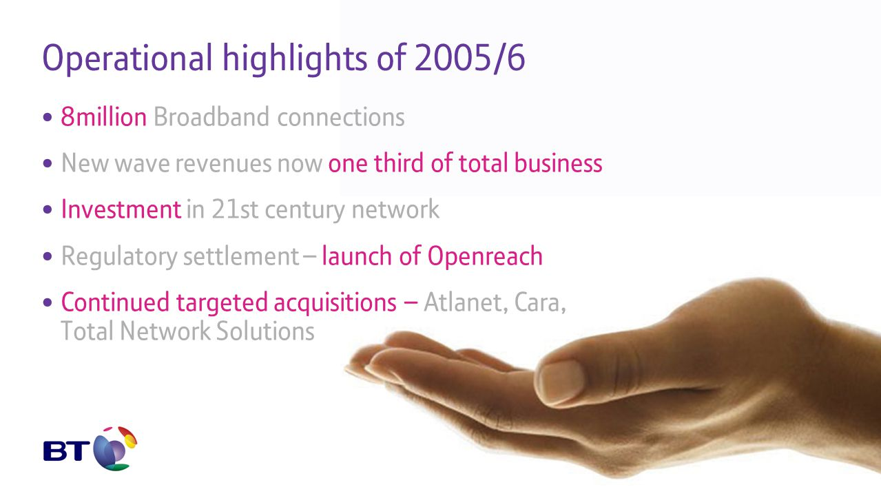 Operational highlights of 2005/6 8million Broadband connections New wave revenues now one third of total business Investment in 21st century network Regulatory settlement – launch of Openreach Continued targeted acquisitions – Atlanet, Cara, Total Network Solutions