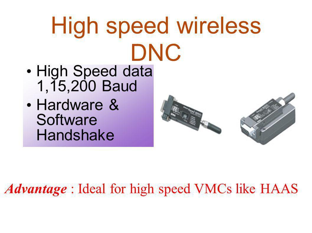 High speed wireless DNC High Speed data 1,15,200 Baud Hardware & Software Handshake Advantage : Ideal for high speed VMCs like HAAS