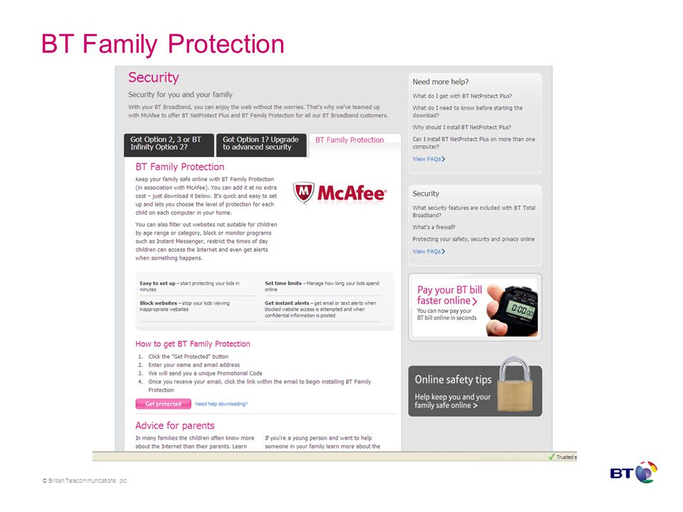 © British Telecommunications plc BT Family Protection