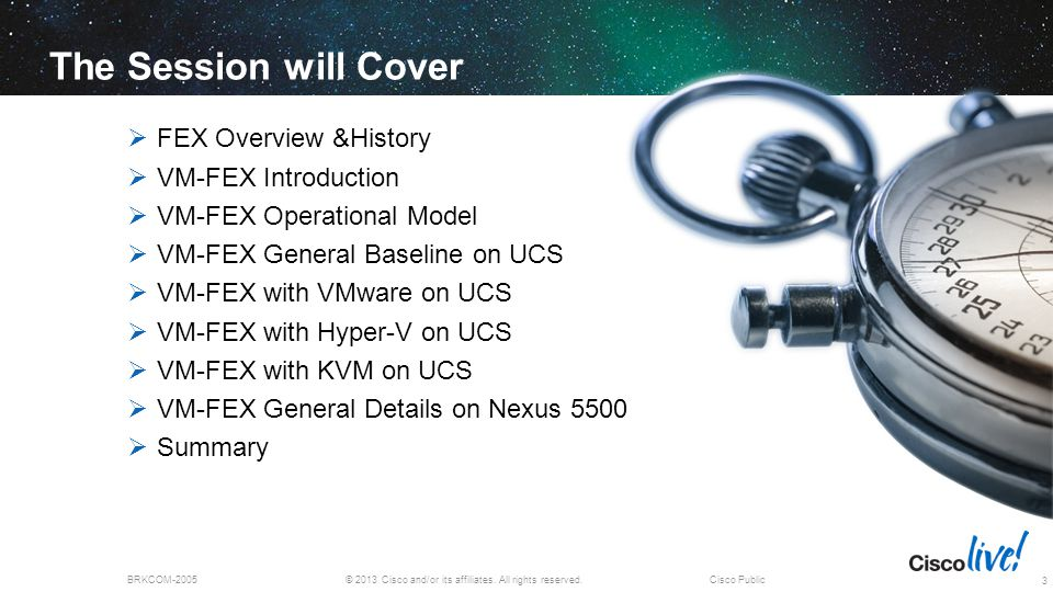© 2013 Cisco and/or its affiliates. All rights reserved.BRKCOM-2005Cisco Public The Session will Cover  FEX Overview &History  VM-FEX Introduction 
