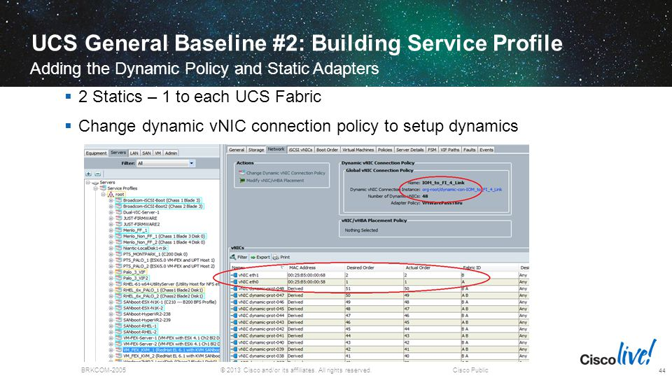 © 2013 Cisco and/or its affiliates. All rights reserved.BRKCOM-2005Cisco Public UCS General Baseline #2: Building Service Profile Adding the Dynamic P