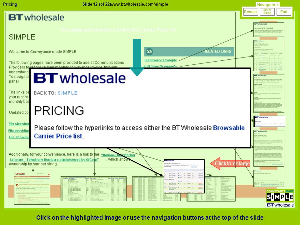 Slide 12 (of 22)Pricing 23/01/2010 Version 0.1 Click to enlarge This page just provides a link to the Carrier Price list.