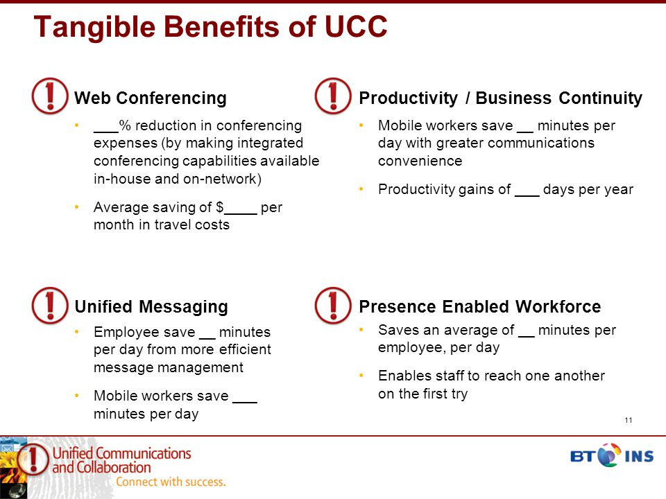 Tangible Benefits of UCC 11 Saves an average of __ minutes per employee, per day Enables staff to reach one another on the first try Presence Enabled Workforce Mobile workers save __ minutes per day with greater communications convenience Productivity gains of ___ days per year Productivity / Business Continuity Employee save __ minutes per day from more efficient message management Mobile workers save ___ minutes per day Unified Messaging ___% reduction in conferencing expenses (by making integrated conferencing capabilities available in-house and on-network) Average saving of $____ per month in travel costs Web Conferencing