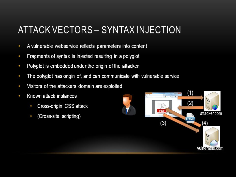 ATTACK VECTORS – CONTENT SMUGGLING A vulnerable webservice allows users to upload content Attacker uploads a polyglot to the vulnerable origin Polyglot is embedded under the origin of the attacker The polyglot has origin of, and can communicate with vulnerable service Visitors of the attackers domain are exploited Known attack instances GIFAR Content sniffing attack attacker.com (1) vulnerable.com (2) (3) (4)(5)