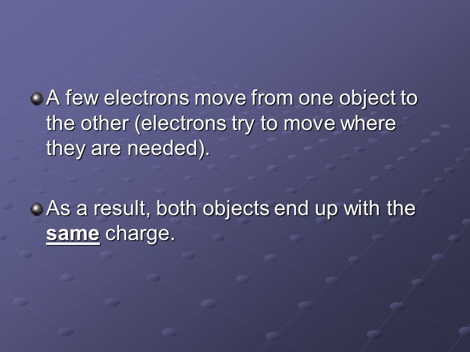 A few electrons move from one object to the other (electrons try to move where they are needed). As a result, both objects end up with the same charge