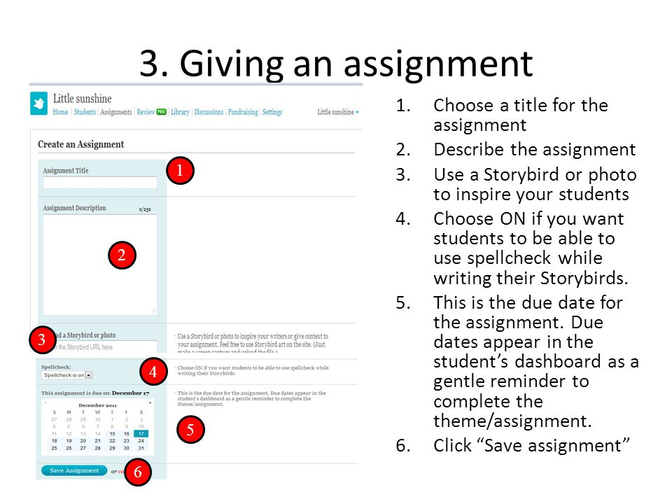 3. Giving an assignment 1.Choose a title for the assignment 2.Describe the assignment 3.Use a Storybird or photo to inspire your students 4.Choose ON
