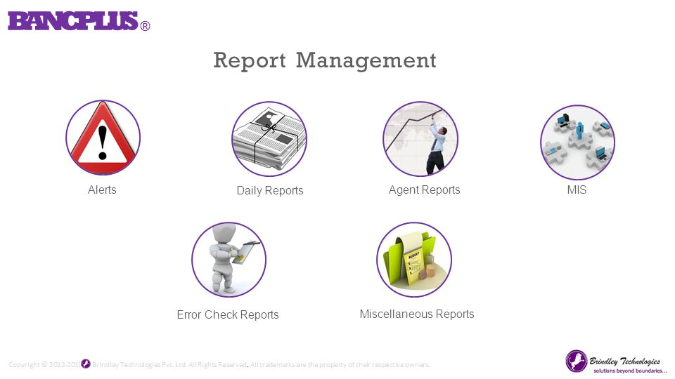 Alerts Daily Reports Agent ReportsMIS Error Check Reports Miscellaneous Reports Report Management BANCPLUS ®