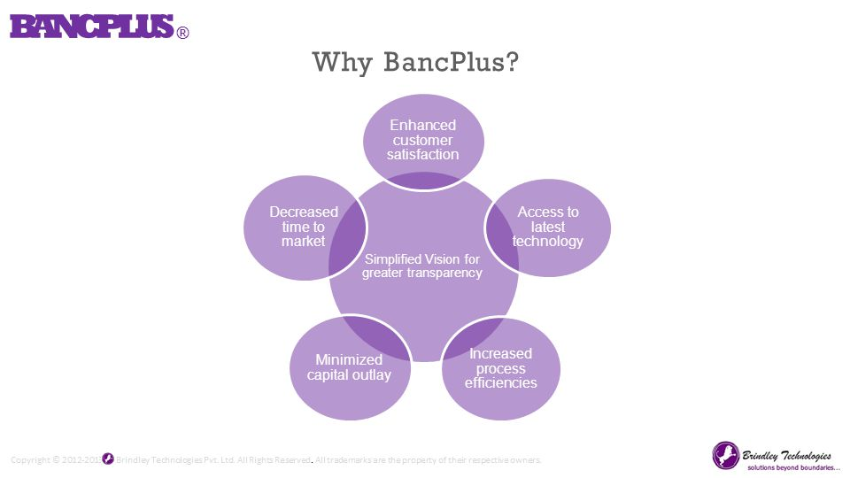 Simplified Vision for greater transparency Enhanced customer satisfaction Access to latest technology Increased process efficiencies Minimized capital outlay Decreased time to market BANCPLUS ® Why BancPlus