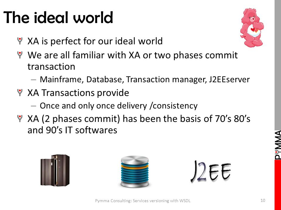 The ideal world XA is perfect for our ideal world We are all familiar with XA or two phases commit transaction – Mainframe, Database, Transaction manager, J2EEserver XA Transactions provide – Once and only once delivery /consistency XA (2 phases commit) has been the basis of 70's 80's and 90's IT softwares Pymma Consulting: Services versioning with WSDL 10