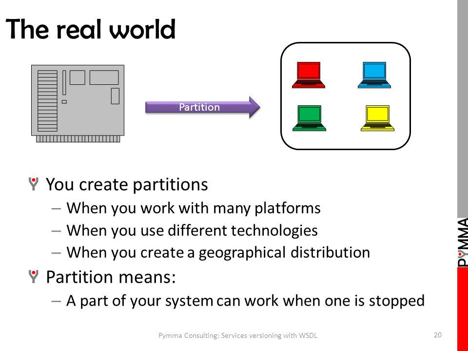 The real world You create partitions – When you work with many platforms – When you use different technologies – When you create a geographical distribution Partition means: – A part of your system can work when one is stopped Pymma Consulting: Services versioning with WSDL 20 Partition