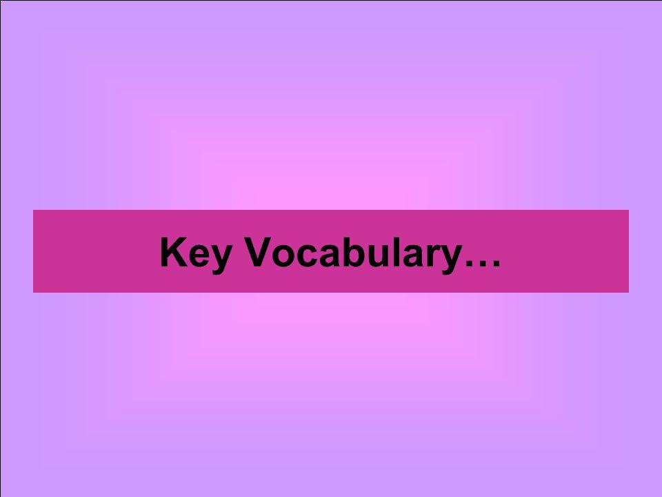 Key Vocabulary…
