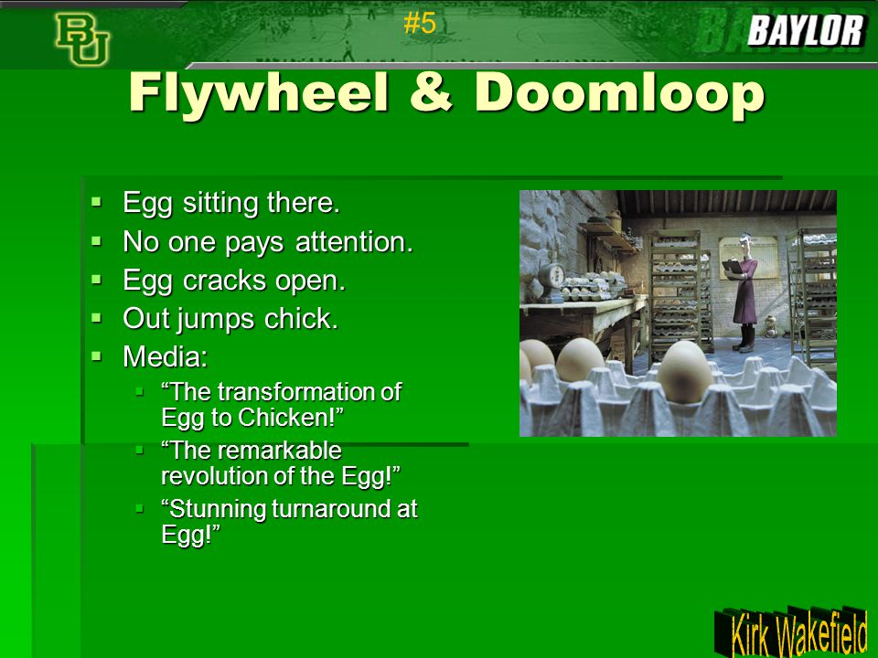 """Flywheel & Doomloop  Egg sitting there.  No one pays attention.  Egg cracks open.  Out jumps chick.  Media:  """"The transformation of Egg to Chick"""