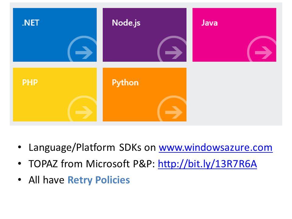 Language/Platform SDKs on www.windowsazure.comwww.windowsazure.com TOPAZ from Microsoft P&P: http://bit.ly/13R7R6Ahttp://bit.ly/13R7R6A All have Retry