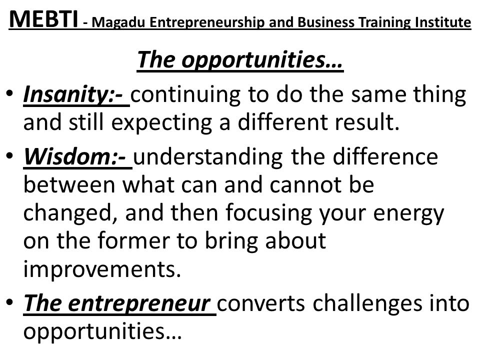 MEBTI - Magadu Entrepreneurship and Business Training Institute The opportunities… Insanity:- continuing to do the same thing and still expecting a different result.
