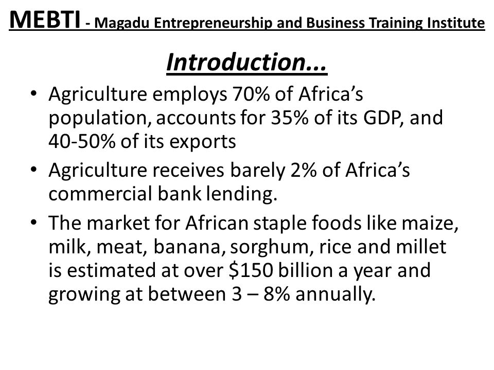 MEBTI - Magadu Entrepreneurship and Business Training Institute Introduction...