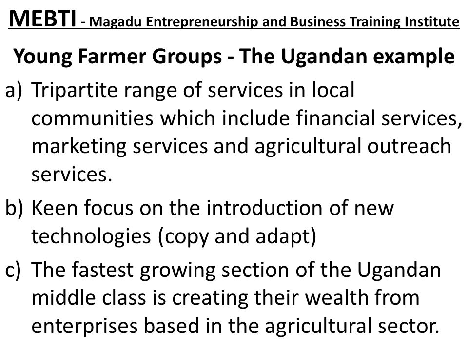 MEBTI - Magadu Entrepreneurship and Business Training Institute Young Farmer Groups - The Ugandan example a)Tripartite range of services in local communities which include financial services, marketing services and agricultural outreach services.