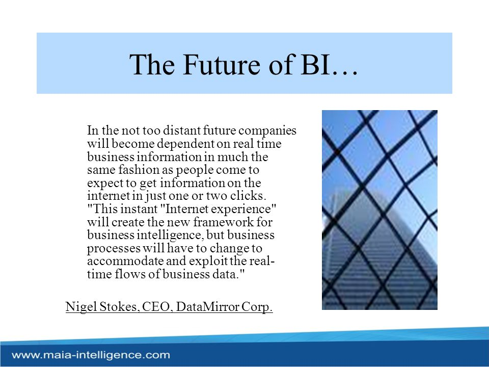 BI 2.0 BI 2.0 is the recently-coined term which is part of the continually developing BI industry and heralds the next step for BI.