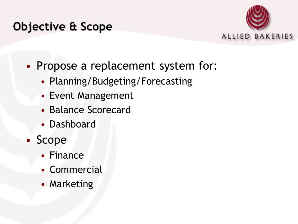 Objective & Scope Propose a replacement system for: Planning/Budgeting/Forecasting Event Management Balance Scorecard Dashboard Scope Finance Commerci