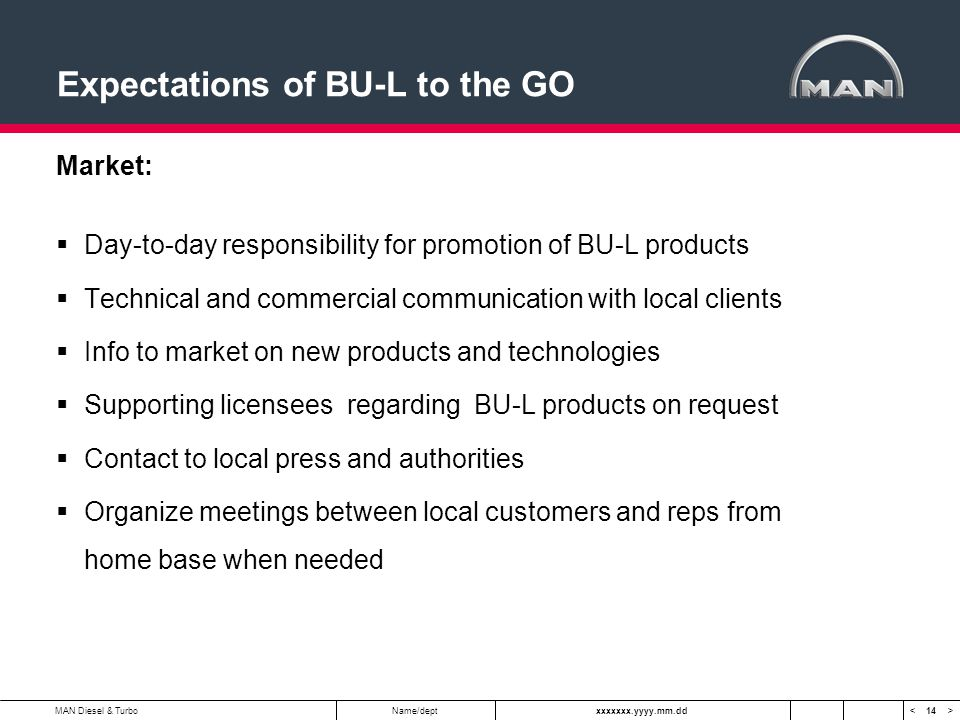 14 < >MAN Diesel & TurboName/deptxxxxxxx.yyyy.mm.dd Expectations of BU-L to the GO Market:  Day-to-day responsibility for promotion of BU-L products