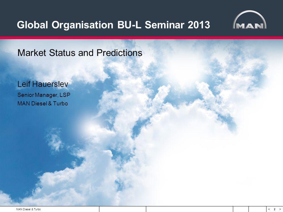 2 < > Global Organisation BU-L Seminar 2013 Market Status and Predictions Leif Hauerslev Senior Manager, LSP MAN Diesel & Turbo