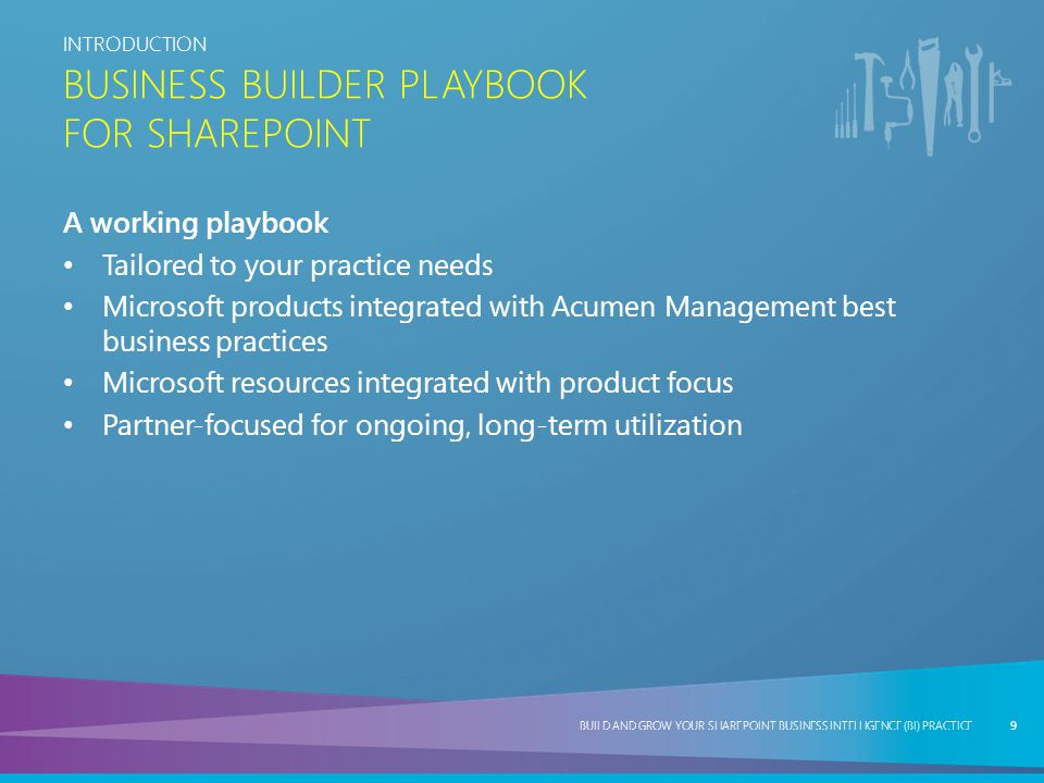 BUILD AND GROW YOUR SHAREPOINT BUSINESS INTELLIGENCE (BI) PRACTICE PLAY TWO BUILD AND GROW YOUR SHAREPOINT BUSINESS INTELLIGENCE (BI) PRACTICE SALES & MARKETING FUNNEL MEASURE DISPASSIONATELY 30 GLASS PIPELINE — OVERALL COMPANY OPPORTUNITY — EFFORT — RESULTS STAGE 6PROPOSAL WIN UNIVERSE STAGE 4 STAGE 5STAGE 3 IDEAL PROFILE SEGMENTCAMPAIGNEXECUTION LEADS REQ