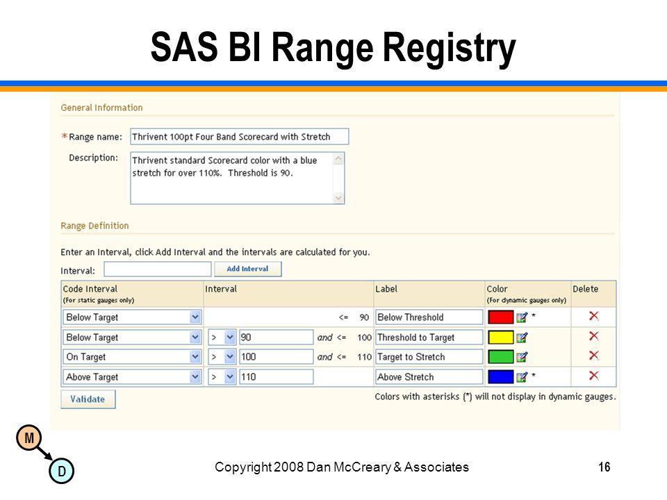 M D Copyright 2008 Dan McCreary & Associates16 SAS BI Range Registry