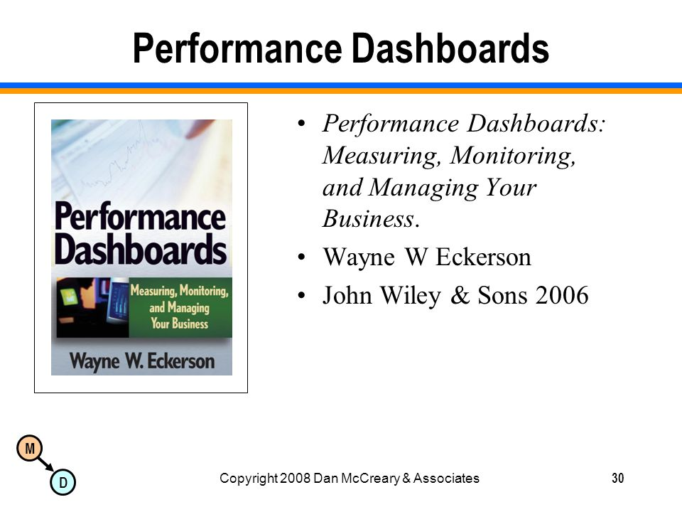 M D Copyright 2008 Dan McCreary & Associates30 Performance Dashboards Performance Dashboards: Measuring, Monitoring, and Managing Your Business.