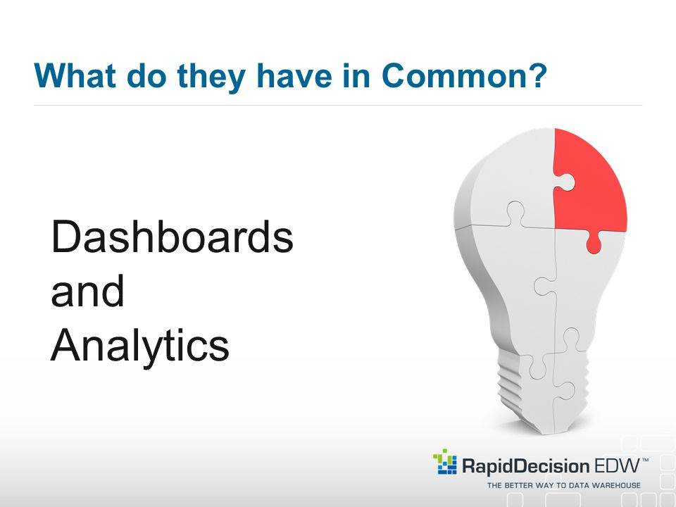 What do they have in Common Dashboards and Analytics