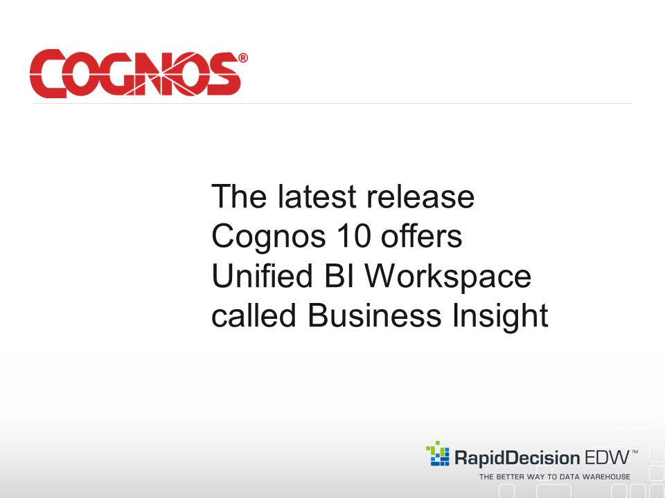 The latest release Cognos 10 offers Unified BI Workspace called Business Insight