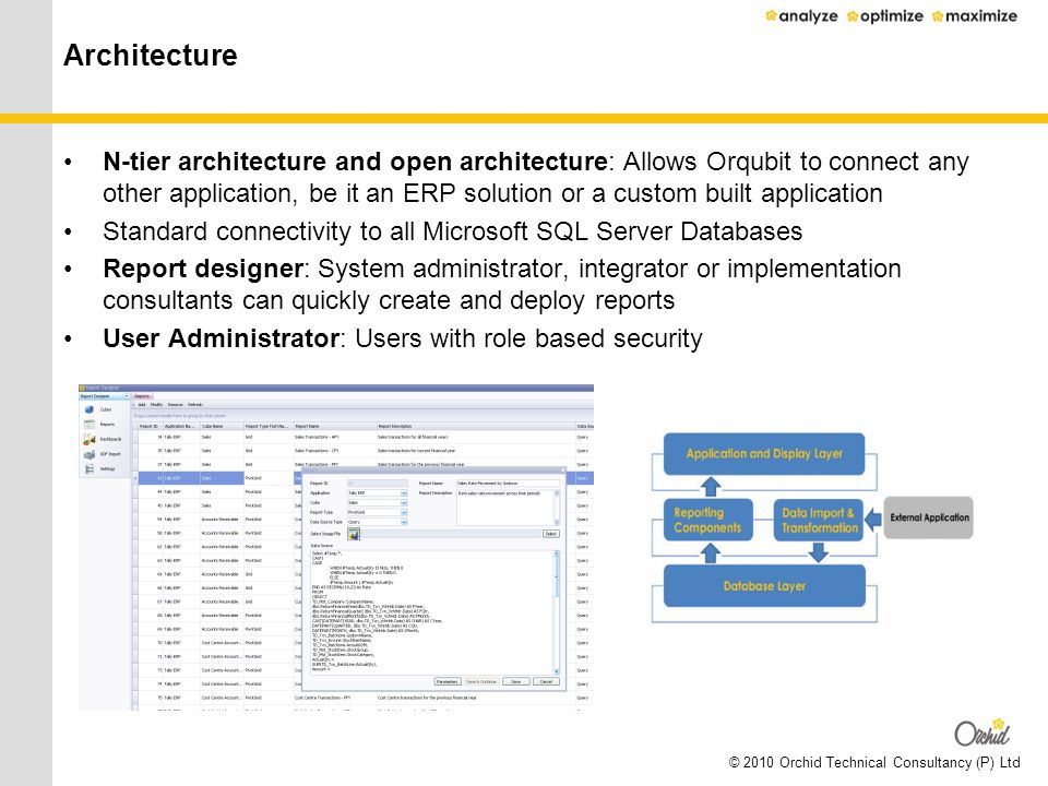 © 2010 Orchid Technical Consultancy (P) Ltd Architecture N-tier architecture and open architecture: Allows Orqubit to connect any other application, b