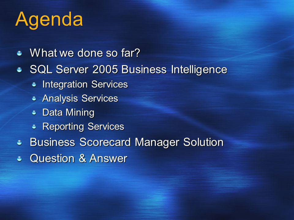 Introduced with SQL Server 2000 Open, extensible enterprise reporting solution Report authoring, management, delivery Office System integration VS.NET development environment SQL Server 2005 enhancements Integration with AS, DTS, management tools Developer enhancements Improved report interactivity Rich end-user reporting Reporting Services