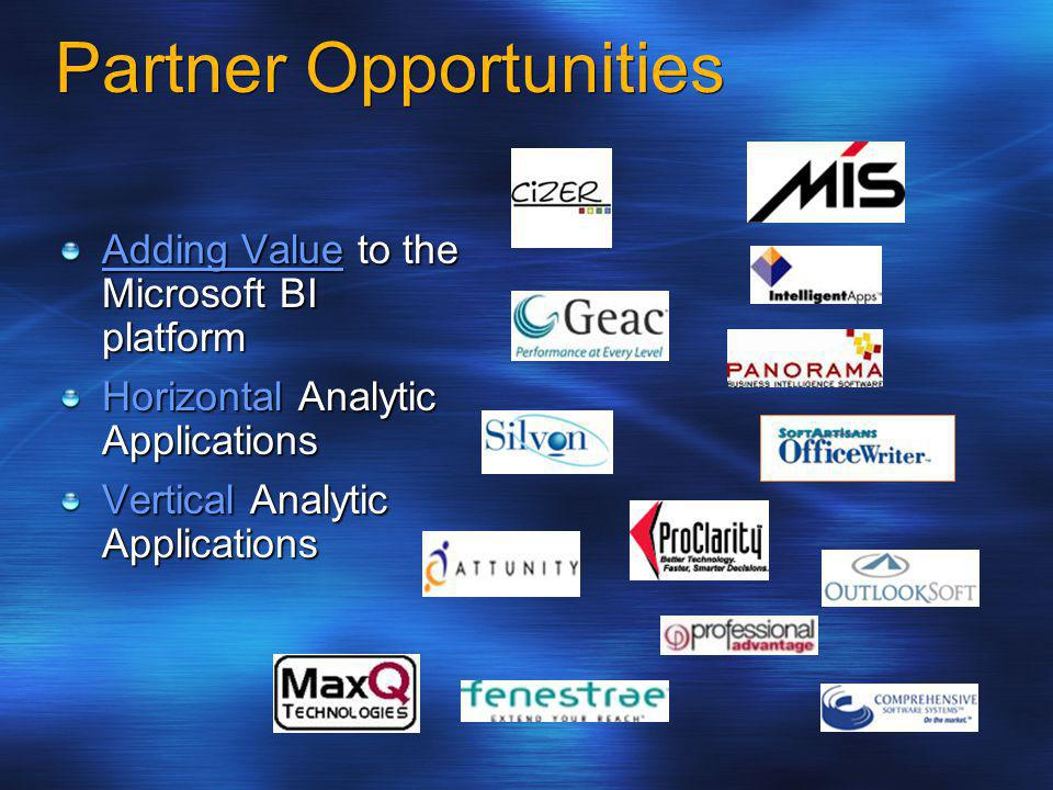 Partner Opportunities Adding Value to the Microsoft BI platform Horizontal Analytic Applications Vertical Analytic Applications