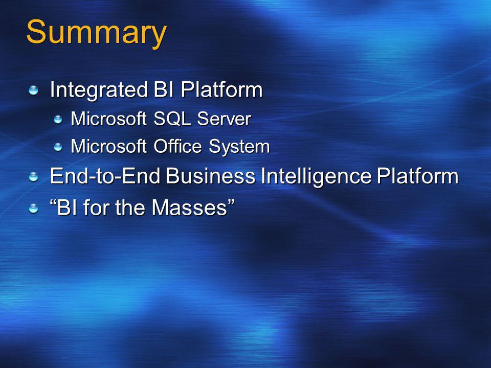 Summary Integrated BI Platform Microsoft SQL Server Microsoft Office System End-to-End Business Intelligence Platform BI for the Masses